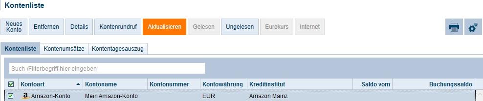 Amazon Konto Aktualisierung